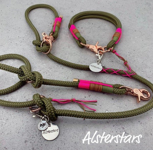 Tauleinenset Pinky Olive - Tauhalsband & Tauleine