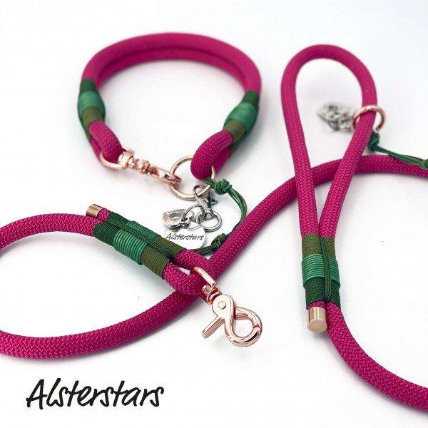 Tauleinenset Pink meets Green - Tauleine & Tauhalsband