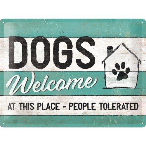 Pfotenschild - Dogs Welcome - XL Bleckschild