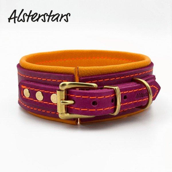 Lederhalsband - Berry Leather meets Orange