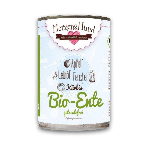 Bio-Ente mit Bio-Gemüse -Getreidefrei