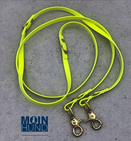 Verstellbare Biothane- Leine Neon- Gelb schmal