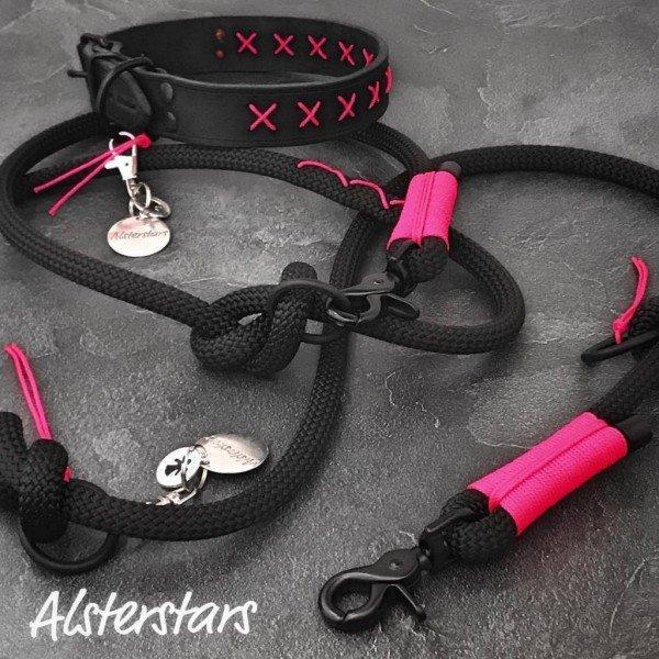 Black meets Pink - Tauleine und Fettlederhalsband