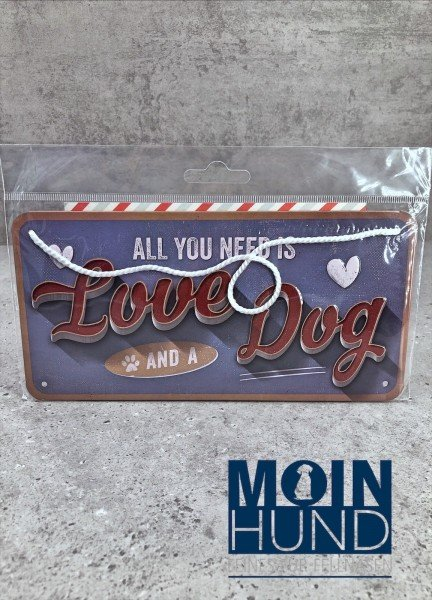 Pfotenschild - Hängeblechschild - Love Dog