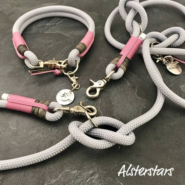 Tauleine und Tauhalsband - Silver meets Leather and Rose!