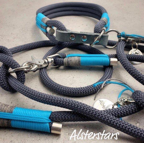 Tauleinenset Blue meets Grey - Tauhalsband & Tauleine