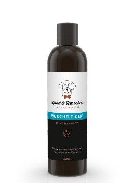"""Hundeshampoo """"Wuscheltiger"""" mit Bio Avocadoöl Und Bio Jojobaöl für Langes Und Wolliges Fell (250 ml)"""