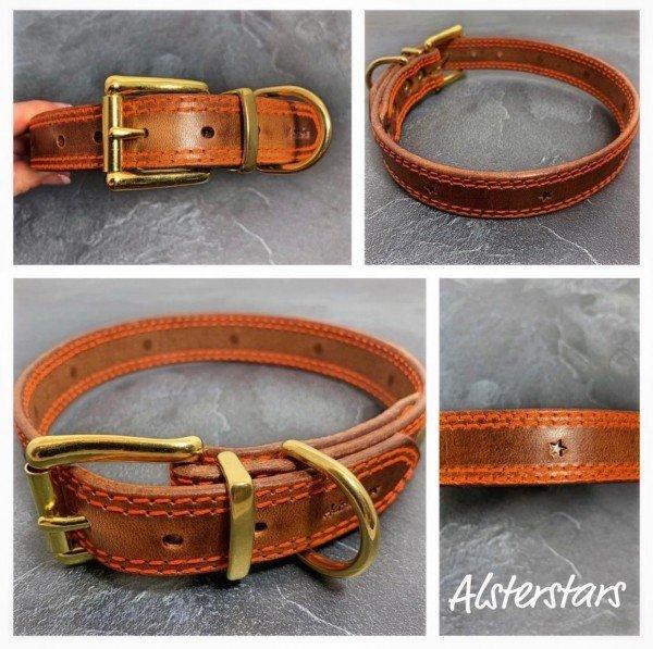 Lederhalsband - Leather meets Orange