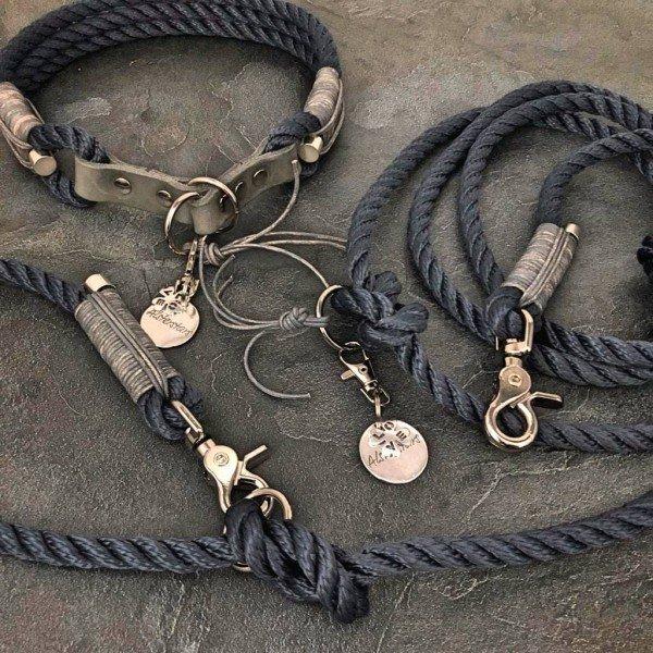 Tauleine & Tauhalsband - Marine Klassik meets Grey Leather